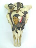 Real Cattle Skull with Native American & Eagle Sculpture - Wall Hanging