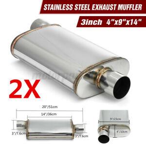 """2x 3"""" Universal Stainless Steel Exhaust Sports Muffler Center/Offset"""