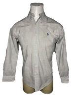 Polo Ralph Lauren Medium M White Pink Green Check SLIM-FIT Men Button-Down Shirt