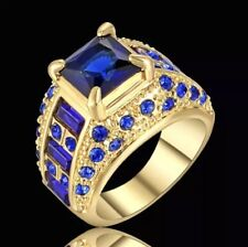 Size 6 sapphire Big Stone Engagment Ring 10KT Yellow Gold Filled Wedding Band