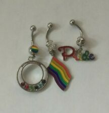 with Rainbow Pride Dangle Navel Ring (Lot of 3) Gay Pride Epoxy