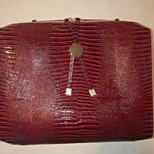 Estée Lauder Large Red Croc Embossed Leather Cosmetic Makeup Carry Case Bag New