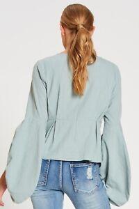 BOHEMIAN TRADERS Linen Cotton Long Sleeve Shirt Sz XL Duck Egg