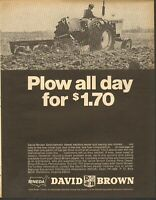 1968 LARGE Print Ad of David Brown DB 1200 Farm Tractor plow all day for $1.70