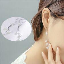 Long Women Dangle Threaders Silver Plated Fake Pearl Chain Drop Earrings