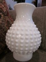 Vintage White Hobnail Milk Glass Chimney Lamp Shade  3 Inch Fitter  EUC