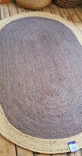 100% Jute Grey with Beige Oval Scandi Braided style rug reversible rustic look