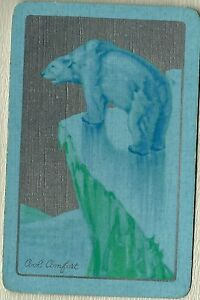 Vintage Playing Swap Cards  COOL COMFORT  Polar Bear on a cliff