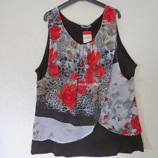 MAGNA Lagenlook Long-Shirt Tunika + Überwurf Viskose flower Print 48-50 (4)