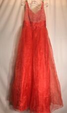 "Red 34"" Bust S/M? Holiday Costume? Lightweight Dress Gown Prom Party E4"