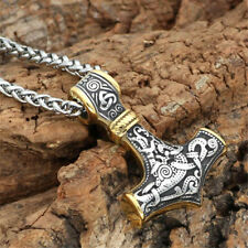 Men's Titanium Steel Gold Norse Viking Thor Hammer Pendant Necklace Jewelry
