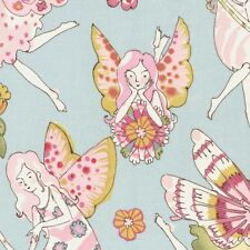 Alexander Henry Flower Fairy Fairies on Blue Cotton Fabric - FQ