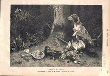 Septembre Chasse Chien Fusil Canard Lapin Tableau Victor Leclaire GRAVURE 1875