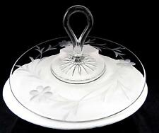 "ART GLASS ETCHED FLOWER & LEAF CLEAR CENTER HANDLED 10"" TRAY PLATE"