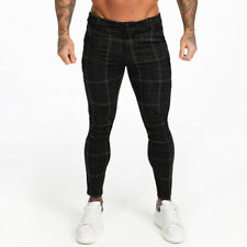 GINGTTO Men Stretch Chinos Skinny Slim Fit Black Check Plaid Tartan Golf Trouser