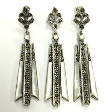 LARGE ART DECO MOTHER OF PEARL MARCASITE SET PENDANT EARRING 925 STERLING SILVER