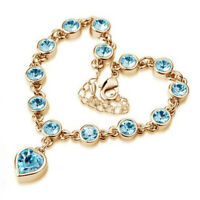 Women 18K Gold Plated Swarovski Crystal Elements Love Hearts Aquamarine Bracelet