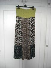 F&F STRAPLESS LONG DRESS BOHO ELASTIC BODICE CRINKLE YELLOW/BLACK/MULTI SIZE 14