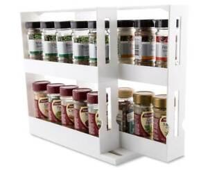 Slide Cabinet Organiser Rack Storage Pantry Kitchen Shelf Spice Jars Can Holder