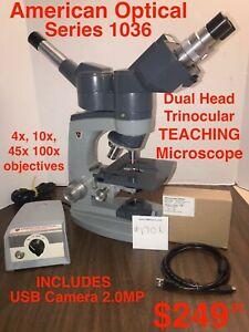 AO / American Optical Series 10 TEACHING Microscope 4 Objectives & CAMERA #1706