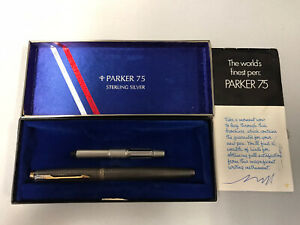 Parker 75 Cisele Sterling Silver Fountain Pen with 14k Gold Nib USA Beautiful