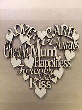 5 X Mum Wording Heart 150x150mm Mother's Day Plaque Heart Mdf