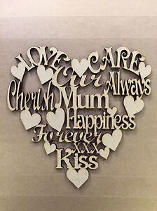 1 x Mum Wording Heart 150x150mm Mother's Day Plaque Heart Mdf wood laser cut