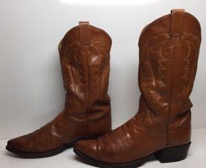 #H MENS TONY LAMA COWBOY DARK ORANGE BOOTS SIZE 10 D