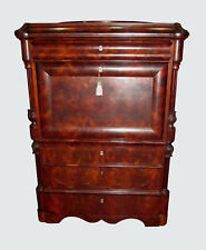 19TH CENTURY BIEDERMEIER SECRETARY ABATTANT IN FIGURED CROTCHED MAHOGANY