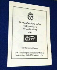 IFK Goteborg v Manchester United UEFA CL 1994 LEAFLET - POSTFREE to UK