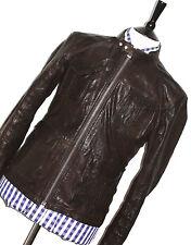 MENS HUGO BOSS DARKER BROWN/ BLACK LEATHER SAFARI BIKER JACKET COAT 38R