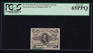 US 5c Fractional Currency Letter 'a' Green Back FR 1239 PCGS 65 PPQ GEM CU