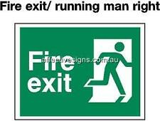 Fire Exit Running Man FiSign Safety Signs Australian Made Quality Printed Sign