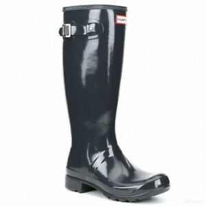 gesteppte Hunter Damen verfeinerte hohe navy Welly-Stiefel Gr 43