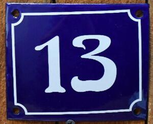 Vintage Style Blue Enamel Porcelain French House Number Door Steel Metal Sign 13