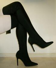 """NEW FOREVER 21 size 12-13 Black Spandex Thigh High Stretch Boots, 4 3/4"""" Heels"""