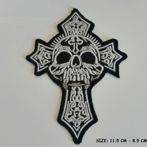 Embroidered Skull Cross Sew or Iron on Patch Biker Patch UK SELLER