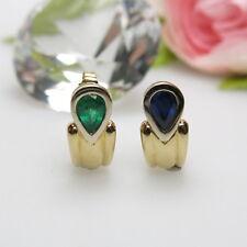 Ohrringe mit Saphir/Smaragd - 750/-er Gold