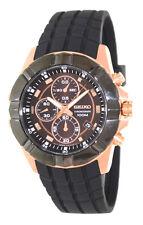 Seiko SNDD80 SNDD80P1 Mens Chronograph Black Bezel Rose Gold 100m Quartz Watch