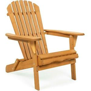 Natural Wooden Adirondack Chair Folding Outdoor Patio Accent Furniture Brown