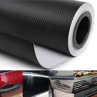 Car Interior Vinyl Sticker DIY Carbon Fiber Dashboard Trim Wrap Sheet Film Black