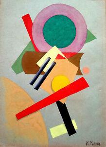 IVAN KLIUN Signed Painting Color Spheres - Abstract Avant Garde Russian USSR Art