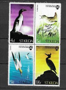 St Kilda -Locals BIRDS block of 4  MINT hinged