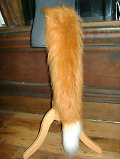 Chestnut Luxury Fox Tail With White Luxury Faux Fur Trim Fancy Dress Fox Tail