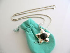 Tiffany & Co Silver 18K Gold Onyx Star Necklace Pendant 24 Inch Snake Chain Rare