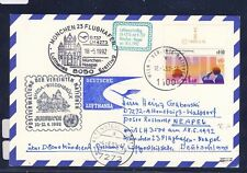 51922) LH FF München - Neapel 18.5.92, Karte ab UNO Wien SPA Rheda