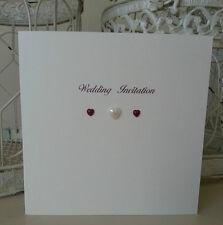 10 Handmade Square Wedding Invitations Stationery Pearl Hearts