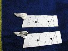PAIR new metal BSA A65 A70 oil in frame PETROL gas fuel TANK BADGES-chrome wings