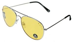 New Neff Bronz Metal Frame Sunglasses Silver Frame Yellow Lens UV 400 Protection