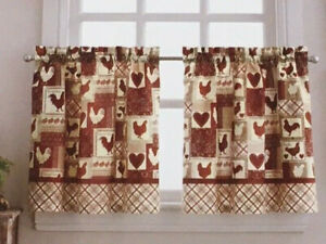 """JC Penney Home 24"""" Curtain Tier Pair - Rooster Roundup Red"""